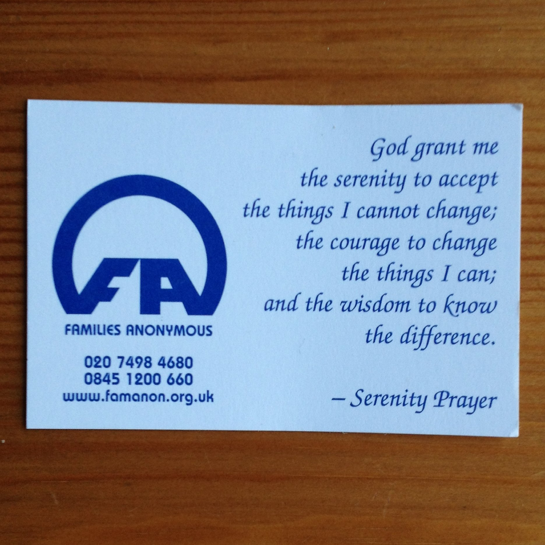Serenity Prayer (business card size) (pack of 10) | Famanon